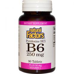 Natural Factors, B6, Pyridoxine HCl, Plus Vitamin C, 250 mg, 90 Tablets