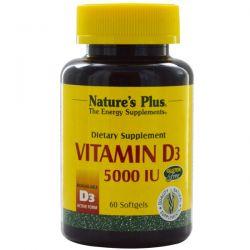 Nature's Plus, Vitamin D3, 5000 IU, 60 Softgels