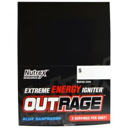 Nutrex Research Labs, Outrage, Extreme Energy Igniter, Blue Raspberry, 12 Bottles, 4 fl oz (118.3 ml) Each