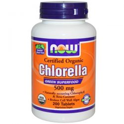 Now Foods, Certified Organic Chlorella, 500 mg, 200 Tablets