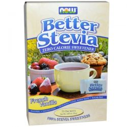 Now Foods, BetterStevia, Zero Calorie Sweetener, French Vanilla, 75 Packets, (1 g) Each