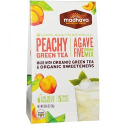 Madhava Natural Sweeteners, Agave Five Drink Mix, Peachy Green Tea, 6 Packets, 0.85 oz (24 g)