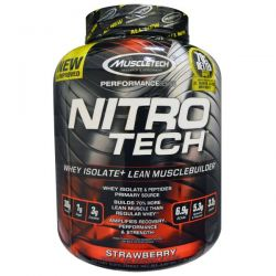 Muscletech, Nitro Tech, Whey Isolate + Lean Muscle, Strawberry, 3.97 lbs (1.80 kg)