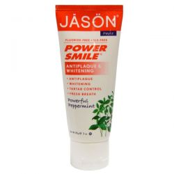 Jason Natural, Power Smile, Antiplaque & Whitening Toothpaste, Powerful Peppermint, 3 oz (85 g)