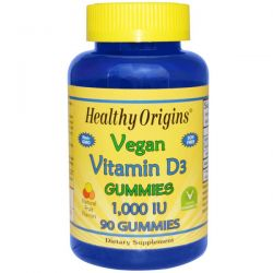 Healthy Origins, Vegan Vitamin D3 Gummies, Natural Fruit Flavors, 1,000 IU, 90 Gummies