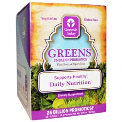 Genesis Today, Greens, Flax Seed & Spirulina, 15 Packets, 0.5 oz Each