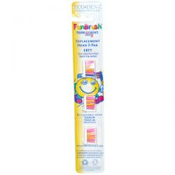 Eco-Dent, FunBrush, Terradent med5, Soft, Rounded Bristles, Replacement Head 3-Pak