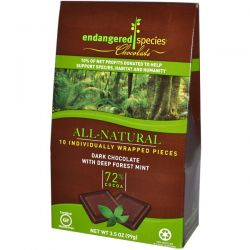Endangered Species Chocolate, Dark Chocolate with Deep Forest Mint, 10 Pieces, 10 g Each