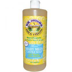 Dr. Woods, Shea Vision, Baby Mild Castile Soap, Unscented, 32 fl oz (946 ml)