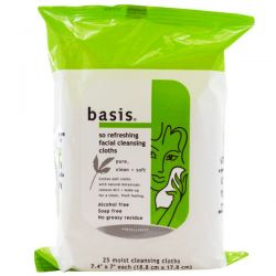 Basis, So Refreshing Facial Cleansing Cloths, Alcohol Free, 25 Moist Cleansing Cloths