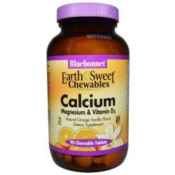 Bluebonnet Nutrition, Calcium, Magnesium & Vitamin D3, Orange Vanilla, 90 Chewable Tablets