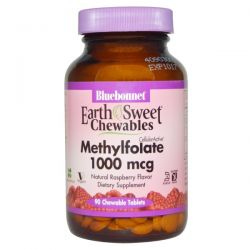 Bluebonnet Nutrition, EarthSweet Chewables, CellularActive Methylfolate, Natural Raspberry Flavor, 1000 mcg, 90 Chewable Tablets