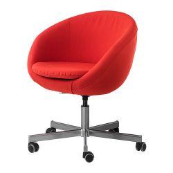 SKRUVSTA Krzesło obrotowe, Vissle czerwono-pomarańczowy