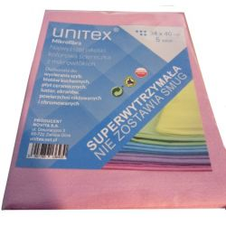 UNITEX ŚCIERKI MIKROFIBRA RÓŻOWA 5 SZTUK 34x40 cm Utrzymanie czystości