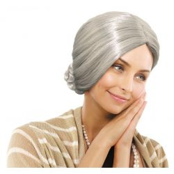 PERUKA BABCIA siwe włosy kok strój karnawał