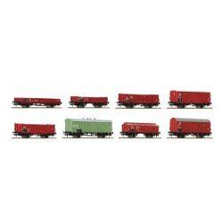 Zestaw 8 wagonów towarowych , ROCO 44001 Wagony