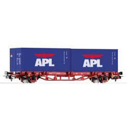 Wagon platforma z kontenerami, Piko 57759 skala 1:87