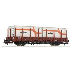 Wagon platforma typu Kbs z kontenerami NS, Roco 76962 101-500 elementów