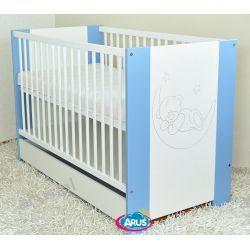 Łóżeczko dziecięce z szufladą 120x60 KAJA niebieskie