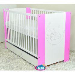 Łóżeczko dziecięce z szufladą 120x60 KAJA różowe