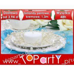 Girlandy perłowe, kremowy, 1,3m, 1op. Ślub Wesele