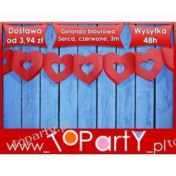 Girlanda bibułowa Serca, czerwony, 3m, Ślub Wesele
