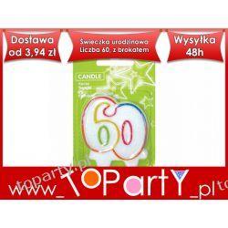 Świeczka urodzinowa Liczba 60, z brokatem.