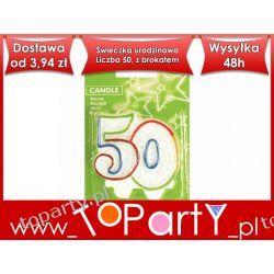 Świeczka urodzinowa Liczba 50, z brokatem.