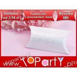 Pudełeczka z ornamentem, biały, 10szt Wesele, Ślub