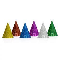 Czapeczki holograficzne, mix, 10cm, 1op. Dzieci.