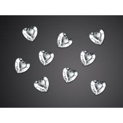Dżety w kształcie serca, srebrny, 12mm, 1op.