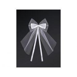 Kokardy z kokardką, biały, 18cm, 1op. Ślub, Wesele