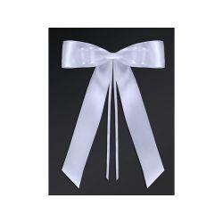 Kokardy z muszką, biały, 14cm, 1op Ślub Wesele