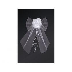 Kokardy z różyczką, biały, 18cm, 1op. Ślub, Wesele
