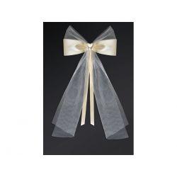 Kokardy z serduszkiem, kremowy, 18cm, 1op. Ślub.
