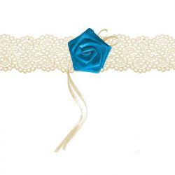 Podwiązka koronkowa z różyczką, kremowy, 1szt.