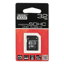 Goodram micro SDHC SDU32GHCUHS1AGRR10 32GB Class 10 UHS Class U1 + ADAPTER microSD-SD...
