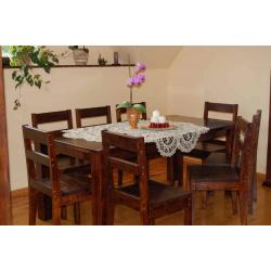 masywny stół bukowy barwiony z krzesłami stół 160/90+6krzeseł 100% drewno polecam