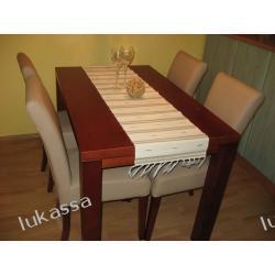 stół bukowy-lite drewno buk + krzesła skóra