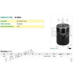 Filtr oleju MANN W936/4- John Deere:AR 58 956   ZETOR-KOMATSU