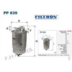 FILTR PALIWA FILTRON PP 839 .VOLKSWAGEN-1.9D,1.9TDI:GOLF II/GOLF III /SHARAN/POLO III/TRANSPORTER T4/SEAT