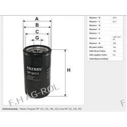 Filtr oleju OP 647/1 zastosowanie:MF-III CYLINDRY, Massey Ferguson MF 133, 135, 148, 152; Ursus MF 231, 235, 255