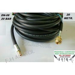 Wąż przewód gumowy do kompresora,20 metr. 20-BAR. DN08, zakuty