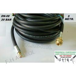 Wąż przewód gumowy do kompresora,5 metrów. 20-BAR. DN08, zakuty