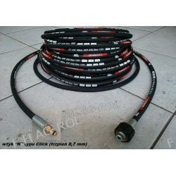 Wąż przewód do myjki KARCHER 20 metrów,wtyk typu CLICK+NAKRĘTKA M22 x 1,5 ,250 BAR, TEMP: DO 155° ,DN06 , oplot metalowy Myjki ciśnieniowe