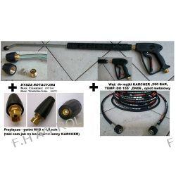 Wąż przewód do myjki KARCHER HD/HDS 10 metrów,250 BAR, TEMP: DO +155°, 2 x nakrętka M22 x 1,5+Pistolet Lanca + dysza+  turbodysza-dysza rotacyjna DO KARCHER