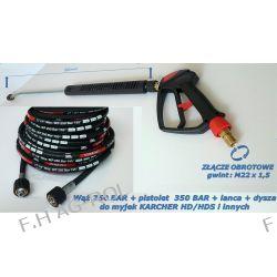 Wąż przewód 250 BAR 25 metrów+pistolet 350 BAR ze złączem obrotowym+lanca+dysza do Karcher HD HDS Myjki ciśnieniowe