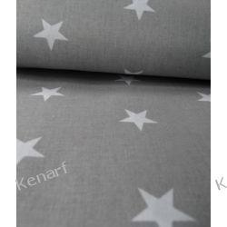Pościel bawełniana białe gwiazdy na szarym
