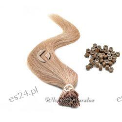 Doczepiane włosy Naturalne Pasma Pasemka 45cm 20 sztuk + Ringi
