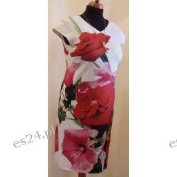Modna sukienka w duże kwiaty, rozmiar 48